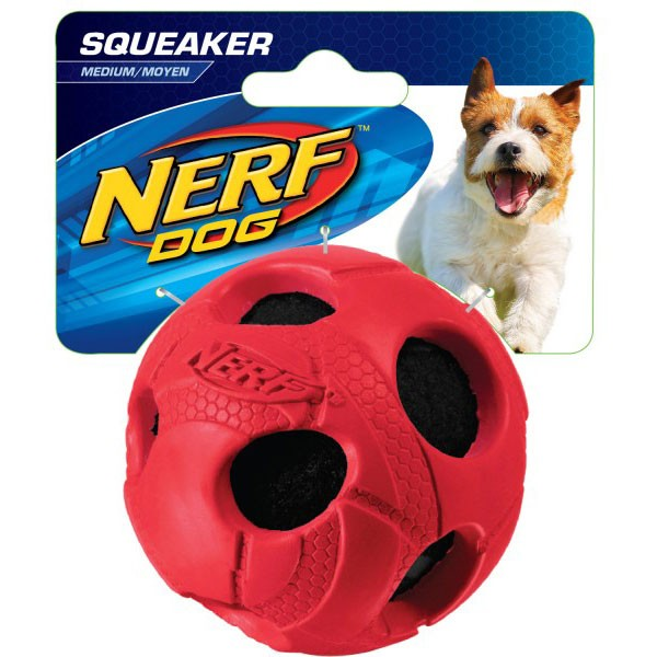 Nerf Dog Wrapped Squeak Bash Ball Ø 8,9 cm rot